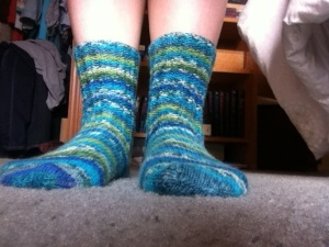 I finally finished my socks! Which means I have two out of four pairs finished for my goal this year!